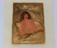 ROGER ETIENNE, French Listed Artist Signed Watercolor Beautiful Nude Portrait