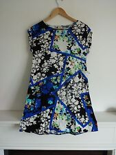 Ladies Lovely Peacocks Blue Mix Floral Sleeveless Thigh Length Dress Size 8, Vgc