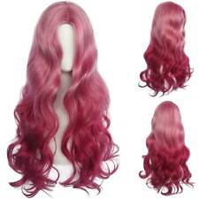 Women Pink Blonde Long Curly Hair Wig Natural Body Wavy Wig Cosplay Costume Prop