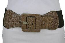 Women Beige Faux Leather Belt Hip Waist Olive Green Elastic Square Buckle M L XL