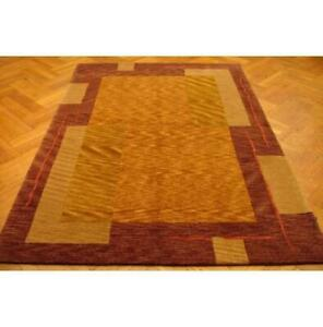 5x8 Authentic Handmade Nepalese Brown Gold Rug PIX-14150