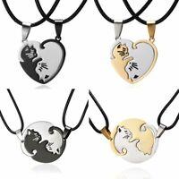 2PCS/Set Couple Cats Stainless Steel Pendant Necklace Women Men Lovers Jewellery