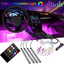 4x 36 LED coche IP65 Decoración Interior Neón atmósfera RGB Tira de Luz Control de música