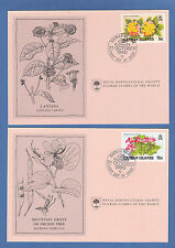 FLOWERS  -  CAYMAN  ISLANDS  -  4  R. H. S.  FIRST DAY COVER FLOWER CARDS - 1980
