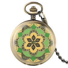 Pocket Watch Hand Winding Mechanical Bronze Flower Steampunk Arabic Number
