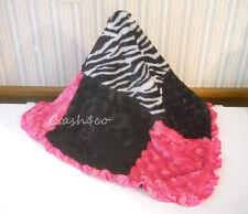 Patchwork Squares pink & black soft swirls zebra print pink satin trim excellent