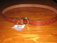NEW Handcrafted Snaffle Bit Brown Oak Bark Leather Belt Brass Hardware Sz 48 USA