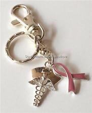 Nursing Gift Pink Ribbon Keychain Purse Tag Bag Set Gift Breast Cancer Awareness