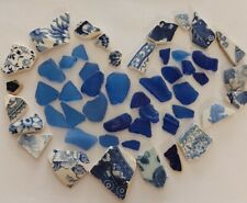 Sea Glass & pottery From N. Ireland Blue b/w Perfect 4 Crafting X 50 Not Tumbled