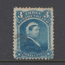 Newfoundland Sc 34 used. 1873 3c blue Queen Victoria, light cancel, sound