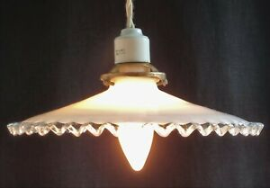 1920'S FRENCH ART DECO COOLIE CEILING LIGHT WHITE & CLEAR GLASS WITH WAVY EDGE