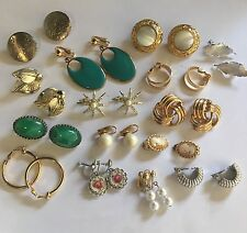 Lot Of 15 Costume Earrings Vintage Modern Variety - Clip-ons Clip On Screw On