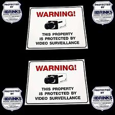 2 VIDEO SECURITY CAMERA SIGNS+4 ADT'L BRINKS HOME ALARM SYSTEM STICKERS DECALS