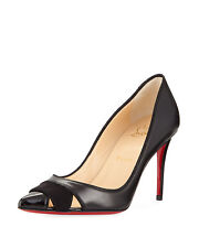 Christian Louboutin Biblio Black Leather 85mm Red Sole Pumps Shoes 38.5