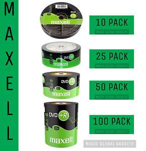 Maxell DVD+R | Recordable Blank DVD Discs Media 25/50/100 Pack | 4.7GB 120MINS |