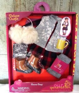 """AG Our Generation 18"""" Girl Doll Cocoa Cozy Red BUFFALO PLAID Christmas Dress NEW"""