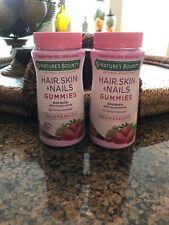 2 Nature's Bounty Hair Skin & Nails W/ Biotin Strawberry - 160 Total Gummies