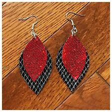 Sparkle Faux Double Stacked Earrings Red & Black With Silver Glitter
