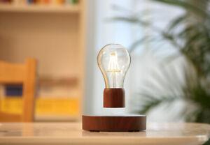 Magnetic Wireless Levitating LED Floating Light Bulb Wood Grain Unique Gift New