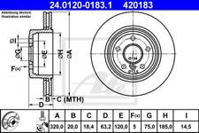 2x Bremsscheibe für Bremsanlage Hinterachse ATE 24.0120-0183.1