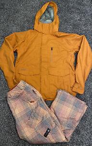 Burton Mens Snowboard Coat And Snow Pants Size S/M Orange Plaid Color EUC