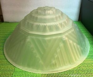 ANTIQUE~ VINTAGE or RETRO ART DECO CEILING LIGHT FIXTURE pyramid SHADE FROSTED