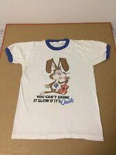 Nestle Quik Shirt Ringer 70s 80s Fits Like XS Shirt Vtg USA Made Promo