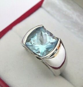 4Ct Cushion Cut Aquamarine Mens Channel Set Solitaire Ring White Gold Fns Silver