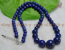 "Round Beads Jewelry Necklaces 18"" Aa Natural 6-14Mm Dark Blue Lapis Lazuli Gems"