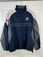 Vintage Rare Miami Dolphins SI Large Full Zip Windbreaker Dunbrooke Jacket