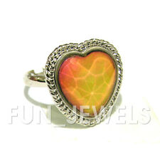 New Vintage Heart Mood Ring Multi Color Changing Facet Stone Free Box & Chart