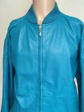 VTG 80s NORDSTROM TOWN SQUARE TURQUOISE LEATHER BOMBER JACKET Full Zip XL