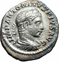 ELAGABALUS 220AD Rome Authentic  Ancient Silver Roman Coin Fortuna Luck i76270