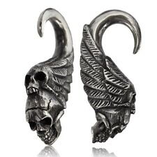 PAIR 2g (6mm) SKULLS WHITE BRASS (SILVER TONE) EAR WEIGHTS PLUGS TUNNELS GAUGE