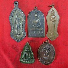 Thai Amulet Brass Buddhism Coin Phra Buddha Protect  Pendant Talisman Set