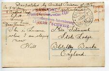 SWITZERLAND Internee 1916 British POW interned Lucerne - pmk FELDPOST cds