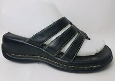 BASS Lissa Wmns 5 M Black Wedge Heel Flip Flop Thong Sandal Shoe Strappy Leather