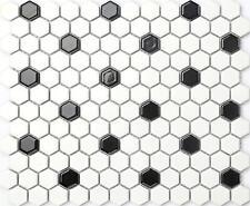 1 SQ M White & Black Hexagonal Gloss Ceramic Mosaic Wall & Floor Tiles MT0090