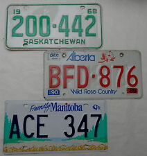 """3 Nummernschilder Canada """"SASKATCHEWAN ,ALBERTA, MANITOBA"""". 13181."""
