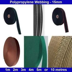 Polypropylene Webbing - 15mm - Brown, Dark Green, Khaki / Green Red White Lines