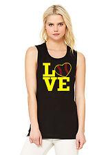 LOVE SOFTBALL - Softball Mom Women's Flowy Muscle Tank - black (MEDIUM)