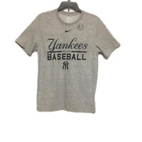 New Nike Mens Dri-FIT Cotton Athletic New York Yankees T-Shirt Gray Size Med