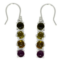 Shine Jewel 925 Sterling Silver Cabochon Round Multi Tourmaline Dangle Earring