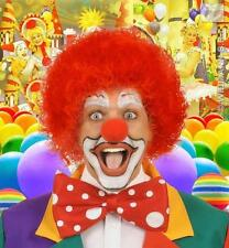 RED Riccia Afro Parrucca Clown Circo Tifoso FANCY DRESS