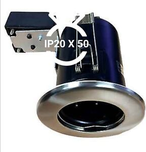 50 xFire Rated Downlight Mr16 IP20 Recessed Ceiling Spots JCC in Brushed Nickel