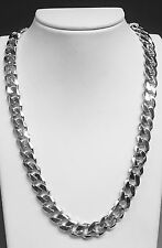 """18kt solid White gold handmade Curb Link mens Necklace 18"""" 135 Grams 11MM"""