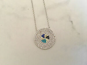 925 Sterling Silver Cubic Zirconia Disc Circle Necklace Pave Triangle Crystals