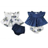 Newborn Baby Girl Floral T-shirt Dress Tops Shorts Pants Clothes Outfit 2pcs Set