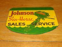 """VINTAGE JOHNSON SEA HORSE OUTBOARD BOAT MOTORS 10"""" PORCELAIN GASOLINE & OIL SIGN"""