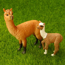 Alpaca With Baby Miniature Figurine Farm Life Wild Animal Zoo Fairy Garden Toy